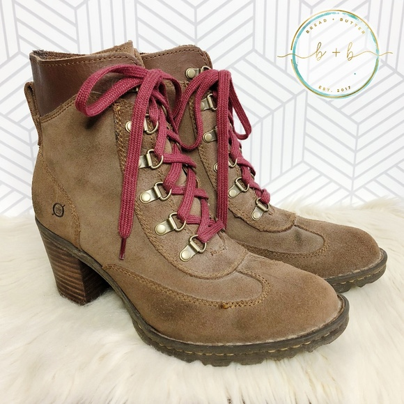 2b23e6ad0 Born Shoes | Ronnie Suede Chunky Heel Hiking Boots | Poshmark